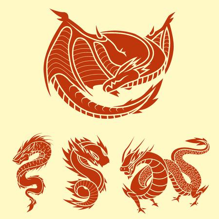Chinese dragon silhouettes tattoo mythology tail monster magic icon asian animal art vector illustration. Vetores