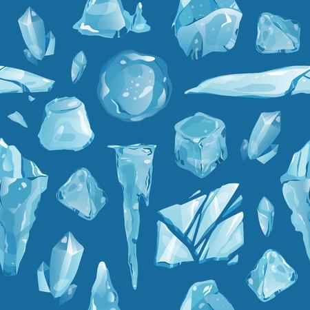 Ice caps debris snowdrifts seamless pattern background icicles broken piece vector illustration