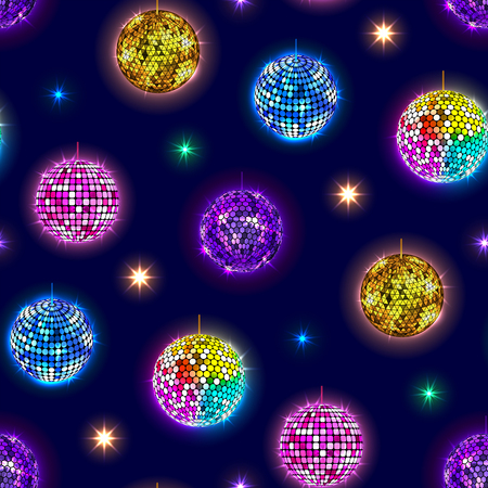 Disco mirror balls party vector seamless pattern background