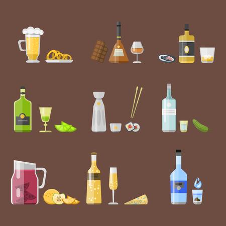 condensation: Alcohol drinks beverages cocktail appetizer bottle lager container drunk different snacks glasses vector illustration.