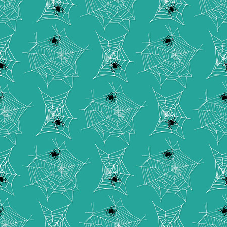 Spider web silhouette arachnid fear graphic flat design nature insect danger halloween vector seamless pattern.