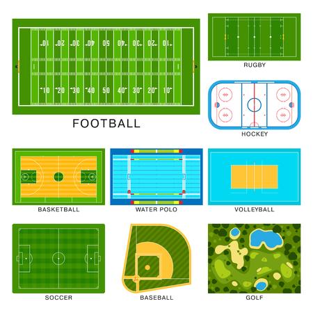 hockey goal: Sport game field vector ground line playground soccer green stadium grass background winner champion illustration