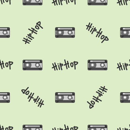 Graffiti vector hiphop muziek tekst kunst urban design naadloze patroon straat stijl abstracte symbool grafische afbeelding Stock Illustratie