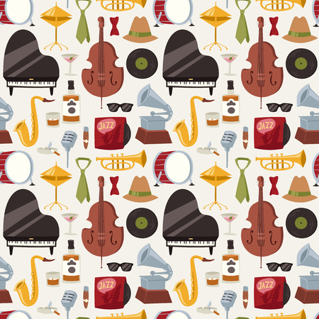 Jazz musical instruments jazzband music seamless pattern background vector