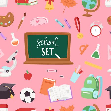 slingshot: School supplies symbols seamless pattern background equipment vector illustration. Back to school