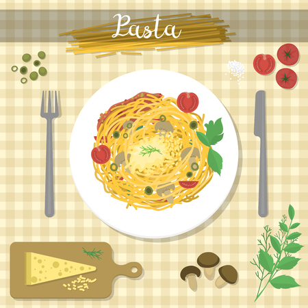 Different food ingredient pasta bolognese and spaghetti lunch dinner tomato salad collage vector illustration Illustration