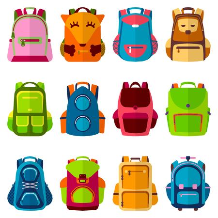Schulkinder Schulrucksack Zurück zu Schulrucksack Vektor-Illustration