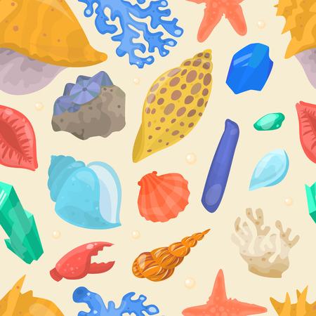 Sea shells and stars marine cartoon clam-shell seamless pattern background vector illustration