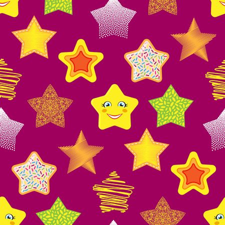 five stars: Shiny stars different style seamless pattern background vector illustration.