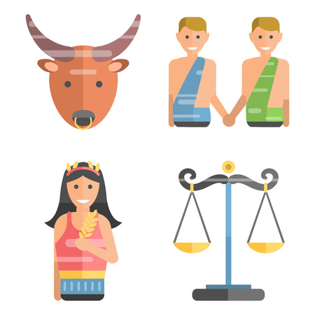 ascendant: Zodiac signs flat set of horoscope symbols star collection astrology ascendant figure nativity vector astrological calendar.