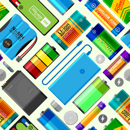 electronic components: Battery equipment energy save seamless pattern background vector illustration.