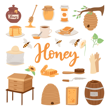 beeswax: Apiary vector illustrations beekeeping honey jar natural organic sweet insect honied beeswax honeyed beehive beekeeper tools. Illustration