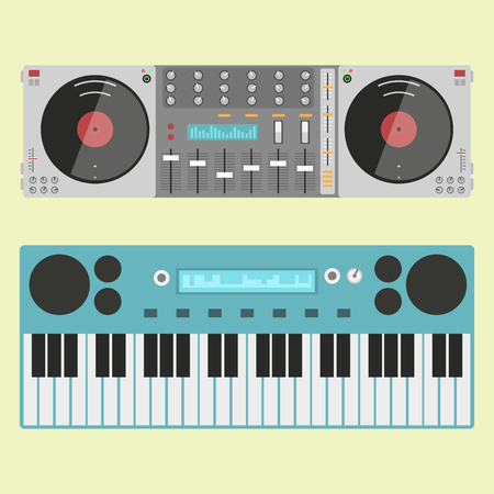 audio mixer: Hip hop accessory musician instruments breakdance expressive rap music dj vector illustration. Illustration