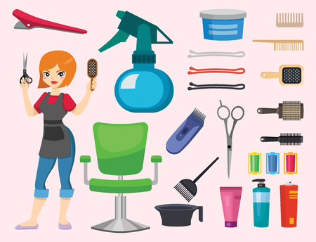 Fashion hairdresser with hair clipper and hairbrush, isolated professional stylish barber tools for cutting, vector illustration Illustration