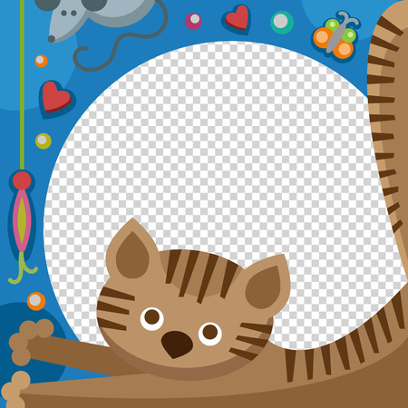 baby announcement card: Cute happy birthday cat photo frame birthday design baby celebration vector illustration.