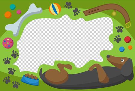 baby announcement card: Cute happy birthday dog photo frame birthday design baby celebration vector illustration. Illustration