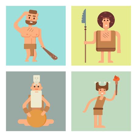 human evolution: Caveman primitive stone age cards cartoon neanderthal people character evolution vector illustration.