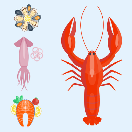 Fresh seafood, flat vector illustration, fish gourmet, delicious, restaurant cooking gourmet, seafood meal