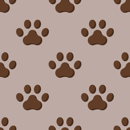 silueta de gato: Dog or cat paw, dog footprint, flat seamless pattern, animal walk background, shape silhouette, vector illustration