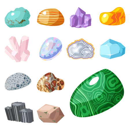 Semi precious gemstones stones and mineral stone isolated dice colorful shiny crystalline vector illustration 向量圖像