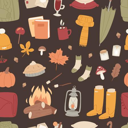 Autumn season icons symbol, vector illustration, seamless pattern background Illustration
