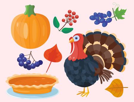Colorful cartoon icons for thanksgiving day pumpkin holiday vector turkey design leaf season celebration
