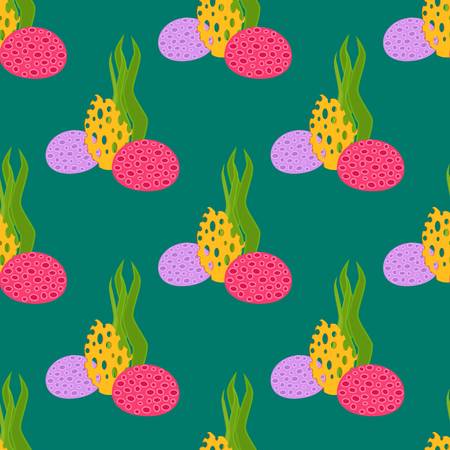 Seaweed plants seamless pattern background vector illustration