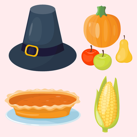 family isolated: Colorful cartoon icons for thanksgiving day pumpkin holiday vector design leaf season celebration Illustration