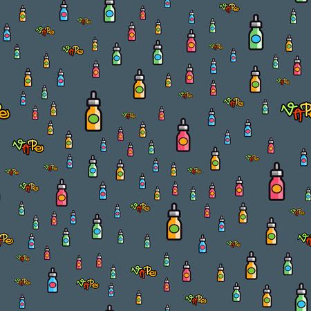 Vape device vector cigarette vaporizer vapor juice seamless pattern bottle flavor illustration battery coil.