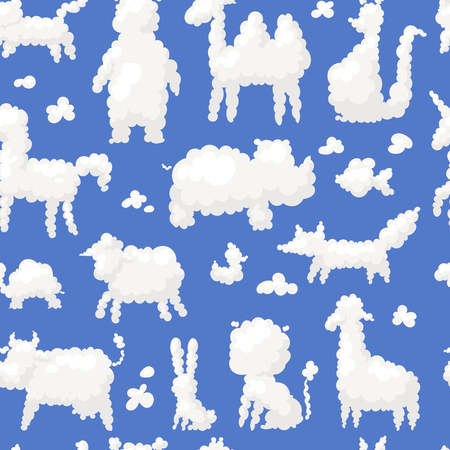 silueta de gato: Animal clouds white silhouette sweet dreams kid imagination vector illustration cute farm and wild shapes