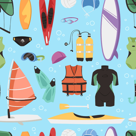 flippers: Kite boarding fun ocean extreme water sport canoe surfer sailing leisure ocean activity summer recreation extreme vector seamless pattern background Illustration