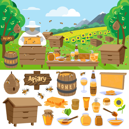 beeswax: Apiary farm vector honey making icons illustration Illustration