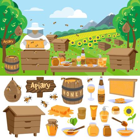 Apiary farm vector honey making icons illustration Illustration