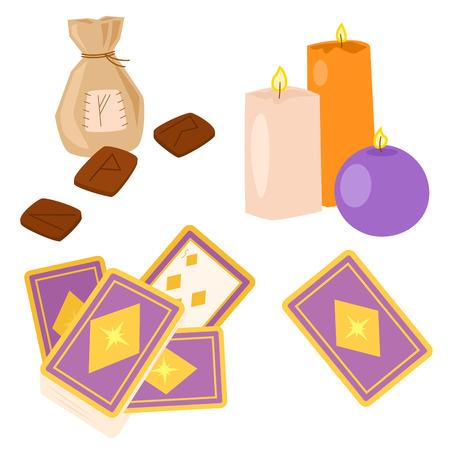 Special magic symbol magician fantasy carnival mystery tools cartoon miracle decoration vector illustration.