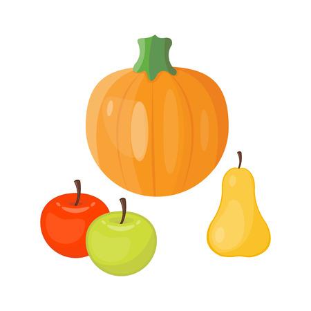 Fresh orange pumpkin decorative seasonal apple pear fruits ripe food organic thanksgiving stem healthy raw vegetarian vegetable. Natural harvest patch garden holiday autumn plant. Illustration