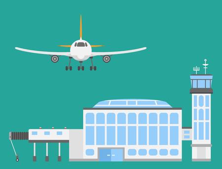 Plane airport transport symbols flat design illustration station concept air port symbols departure luggage plane business vector