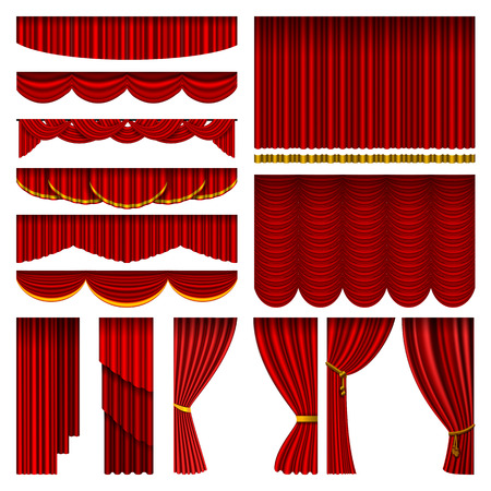 Theather red blind curtain stage isolated on a background illustration