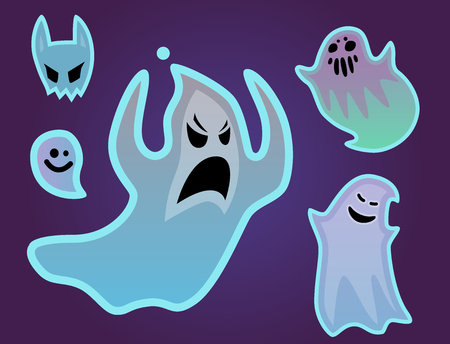 spectre: Cartoon spooky ghost character scary holiday monster design costume evil silhouette and creepy funny night vector illustration. Trick or treat halloween celebration phantom spectre apparition. Illustration