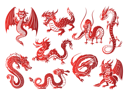 Chinese asia red dragon animal silhouettes on white background vector illustration Ilustração