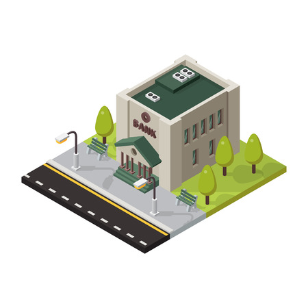 residential homes: Vector bank isometric buildings isolated