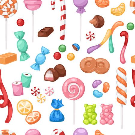 Cartoon sweet bonbon sweetmeats candy kids food sweets mega collection seamless pattern background 일러스트
