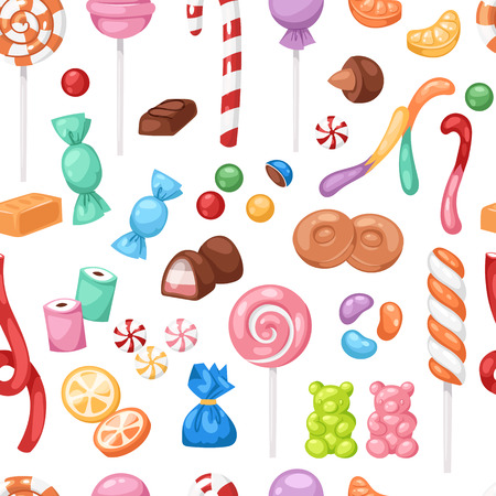Cartoon sweet bonbon sweetmeats candy kids food sweets mega collection seamless pattern background Illustration