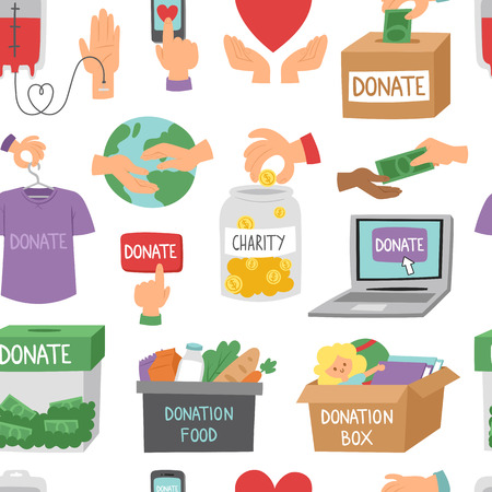 Donate money set outline icons help symbols donation humanity support vector seamless pattern background