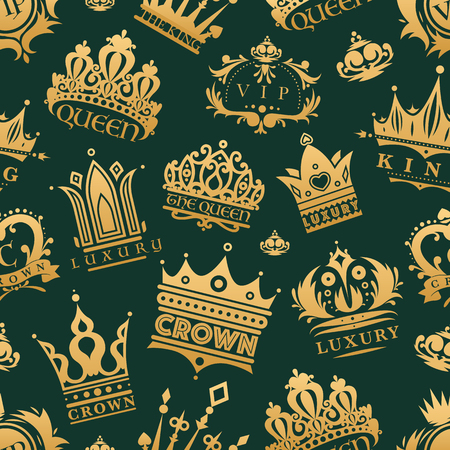royal person: Gold crown king icons set nobility collection vintage jewelry sign vector illustration seamless pattern background Illustration