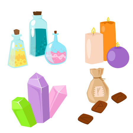 candle: Special magic symbol magician fantasy carnival mystery tools cartoon miracle decoration vector illustration.