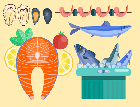 Fresh seafood flat vector illustration fish gourmet delicious restaurant cooking gourmet sea food meal.