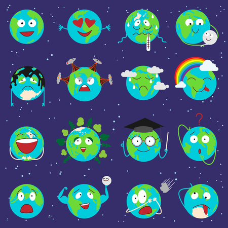 education concept: Cartoon globe earth emotion face character expression planet world vector illustration.