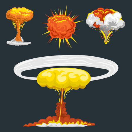 storyboard: Cartoon explosion boom effect animation game sprite sheet explode burst blast fire comic flame vector illustration.
