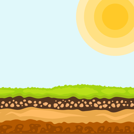 Illustration of cross section of ground agriculture country gardening ground slices land piece nature outdoor vector.