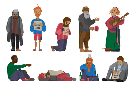 Homeless people characters set unemployment men needing help bums and hobos stray vector illustrations. Homelessness beggar problem cadger human.